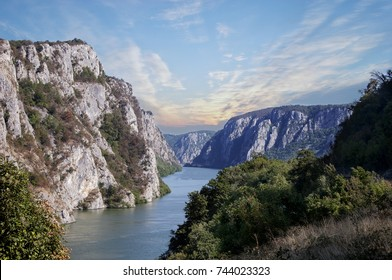 Danube river near the Serbian city of Donji Milanovac in the Iron Gates also known as Djerdap which are the Danube gorges a natural symbol of the border between Serbia and Romania