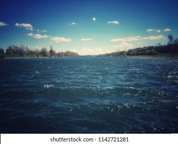 Danube River seen from pontoon brodge on the Danube Island in Vienna, capital city of Austria