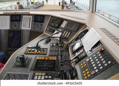 DANUBE RIVER - SEP 5, 2016 -Navigation controls and instruments of river cruise ship, Slovakia