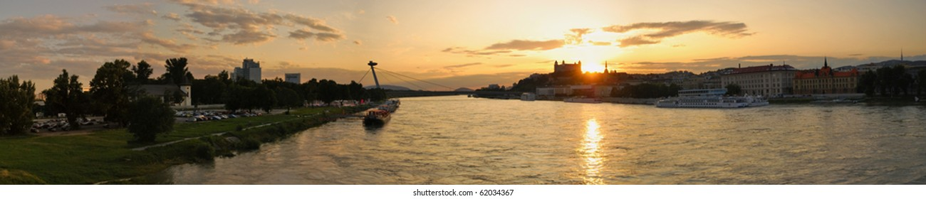 Danube River and sunset over Bratislava Castle