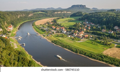 Danube river view near Saxony mountains