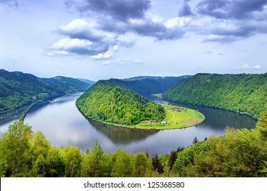 Danube river winding in the austrian plains