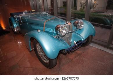 Danville, CA - June 6, 2009: Blackhawk Auto Museum vintage Bugatti car in teal ocean color, pristine condition.