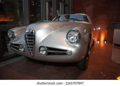 Danville, CA - June 6, 2009: Blackhawk Auto Museum silver vintage car on display.