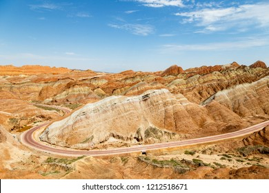 Danxia Feng, or Colored Rainbow Mountains, in Zhangye, Gansu, China. Here the view from the Sea of Clouds observation deck