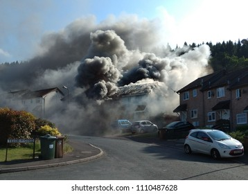 Dan-Y-Darren Llanbradach Caerphilly Wales UK: 06/11/2018; Explosion and house fire before arrival of fire service