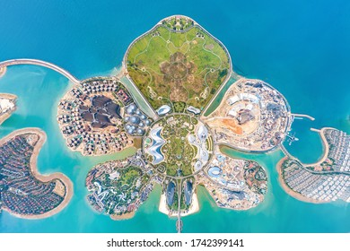 Danzhou, Hainan, China - May 5th 2020: Ocean Flower Island (Sea Flower Island), Artificial Islands Combing Tourism and Residential Facilities Built by the Evergrande Group. Vertical View from the Sky.