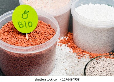 Dap fertilizer in cups on table