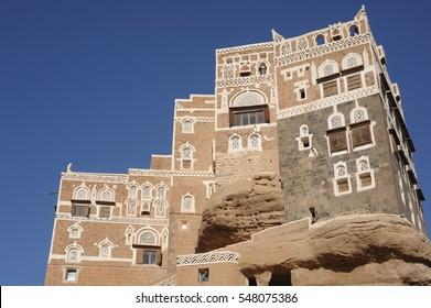 Dar al Hajar, the Rock Palace in Wadi Dhahr valley, royal palace near the capital city of Sana'a, iconic symbol of Yemen
