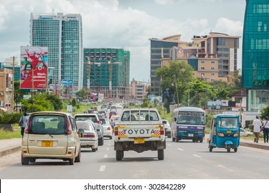 Dar Es Salaam: April 22: Traffic slows down travellers on the busy streets of Downtown Dar Es Salaam on April 22, 2015 in Dar Es Salaam, Tanzania