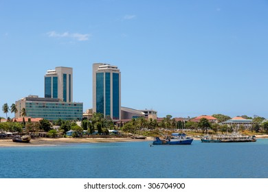 Dar Es Salaam blue beach with buildings in the background, Tanzania, Africa