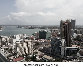 Dar es Salaam city with buildings and the port