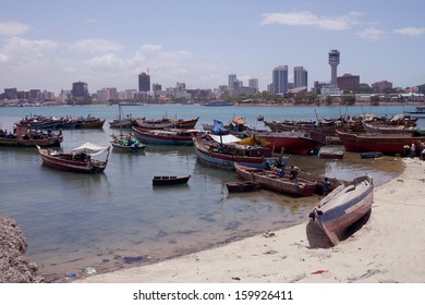 dar es salaam and fishing boats in harbor