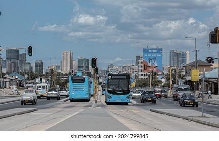 Dar es Salaam Rapid Transit (Dart) buses at Magomeni Mapipa area on September 18, 2017 in Tanzania