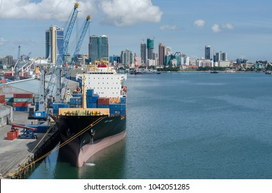 Dar es Salaam, Tanzania - February 21: Container terminal and city landscape in port of Dar es Salaam on February 21, 2018 in Dar es Salaam, Tanzania.