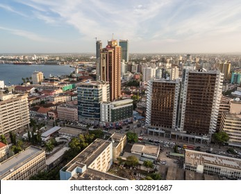 DAR ES SALAAM, TANZANIA - JUNE 08, 2015: Modern skyscrappers in downtown of Dar es Salaam in Tanzania, East Africa, in the evening, at sunset. Horizontal orientation.