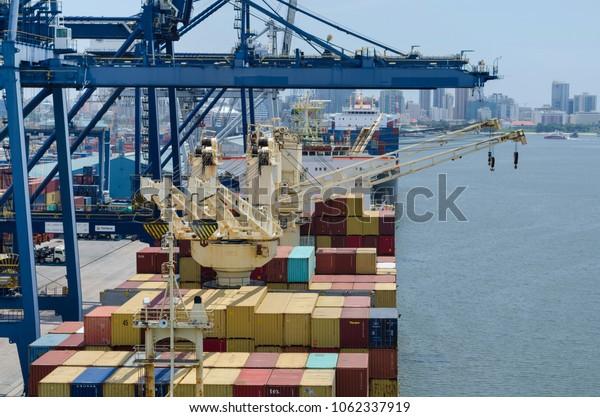 Dar es Salaam, Tanzania - March 29: Container vessel in port of Dar es Salaam on March 29, 2018 in Dar es Salaam, Tanzania.