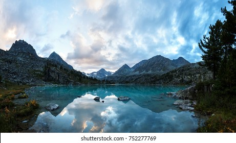 Darashkol lake in the Altai mauntains in evening time.