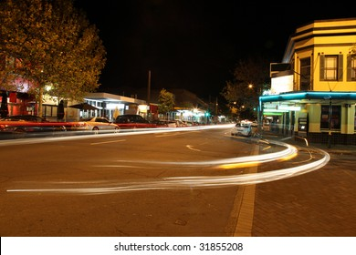 Darby Street - Cooks Hill - Newcastle Australia. One of the most popular entertainment areas in Newcastle. Night time with traffic light trails.