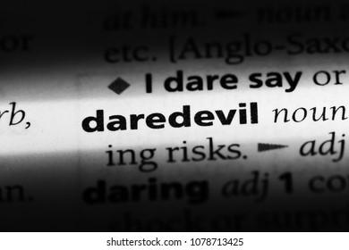 daredevil word in a dictionary. daredevil concept