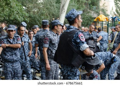 Daredevils of Sasun protest, Erebuni, Yerevan, Armenia. In July 2016, Nagorno-Karabakh veterans took control of a police station and took hostages, demanding the resignation of the Armenian president