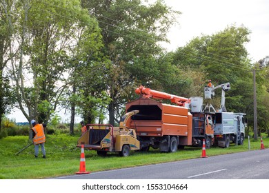 Darfield, Canterbury, New Zealand, November 7 2019: Tree surgeons trim trees near a main highway above power lines