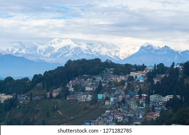 Darjeeling City with mountain range at background