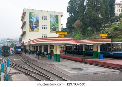 Darjeeling, India - Apr 18 2018- Darjeeling Himalayan Railway at Darjeeling Railway Station in Darjeeling, West Bengal, India. It is part of the World Heritage Site - Mountain Railways of India.