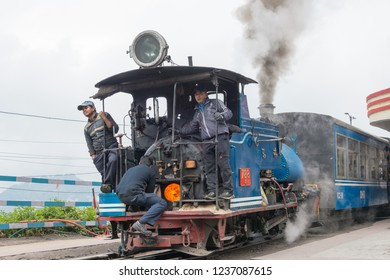 Darjeeling, India - Apr 19 2018- Darjeeling Himalayan Railway at Darjeeling Railway Station in Darjeeling, West Bengal, India. It is part of the World Heritage Site - Mountain Railways of India.