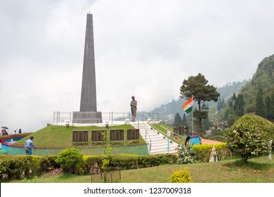 Darjeeling, India - Apr 20 2018- Batasia Loop on Darjeeling Himalayan Railway in Darjeeling, West Bengal, India. It is part of the World Heritage Site - Mountain Railways of India.