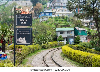 Darjeeling, India - Apr 20 2018- Batasia Loop on Darjeeling Himalayan Railway in Darjeeling, West Bengal, India. It is part of the World Heritage Site - Mountain Railways of India.