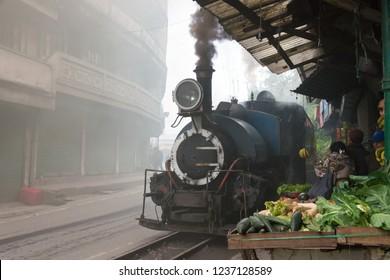Darjeeling, India - Apr 20 2018- Darjeeling Himalayan Railway near Ghum Railway Station in Darjeeling, West Bengal, India. It is part of the World Heritage Site - Mountain Railways of India.