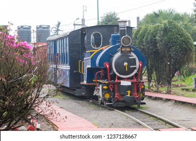 Darjeeling, India - Apr 20 2018- Ghum Railway Station on Darjeeling Himalayan Railway in Darjeeling, West Bengal, India. It is part of the World Heritage Site - Mountain Railways of India.