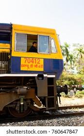 DARJEELING, INDIA - MAR 17, 2017: Train on the railroad, Darjeeling, the Indian state of West Bengal