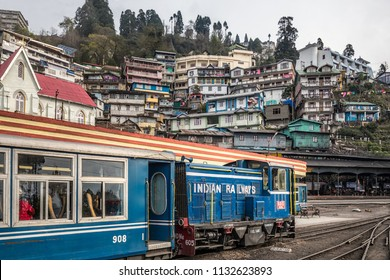 DARJEELING, INDIA - MARCH 19, 2017: Famous Darjeeling steam train was Built between 1879 and 1881 and now is World Heritage Site by UNESCO, India.