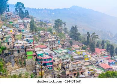 Darjeeling, India - March 24, 2015: Beautiful Kalimpong City on the way to Darjeeling in Darjeeling, India.