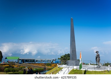 DARJEELING, INDIA - NOVEMBER 27, 2016: War memorial at the center of the Batasia Loop garden, a memorial for the Gorkha soldiers who sacrificed their lives in the wars after India's independence.