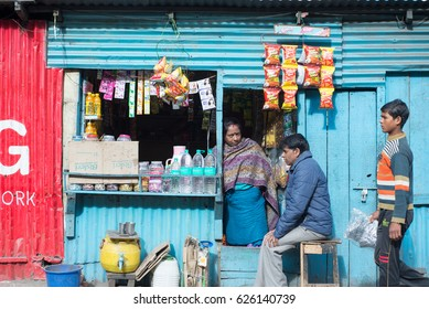 DARJEELING, INDIA - NOVEMBER 28, 2016: Local shop or stall selling snack and drink in Darjeeling, India