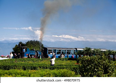 DARJEELING, INDIA - Oct 5, 2011: The Darjeeling Himalayan Railway. Toy train on the background of mount Kanchenjunga, Batasia loop. Engine train.