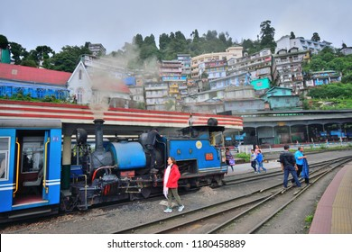 Darjeeling, India - September 02, 2018: A Toy train standing at the station in Darjeeling.