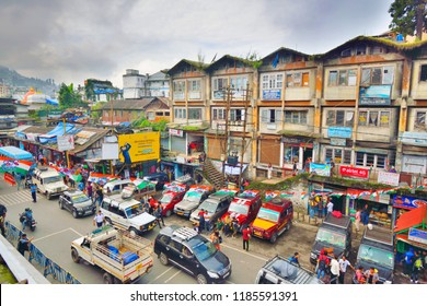 Darjeeling, India - September 05, 2018: Shared jeeps standing in the road for passengers.
