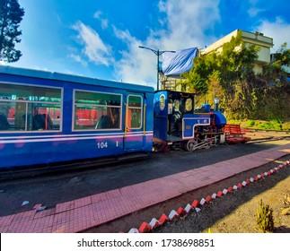 Darjeeling, India-12/22/2019:Famous Darjeeling toy train at the Ghoom train station, Darjeeling