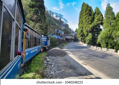 Darjeeling, West Bengal, India - March 28, 2013 : Darjeeling Himalayan Railway, also known as the Toy Train, is a 2 ft narrow gauge railway that runs between New Jalpaiguri and Darjeeling .