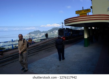 Darjeeling, West Bengal, India Nov 17 2016: A view of the Kanchenjunga from the Darjeeling railway station on clear day.