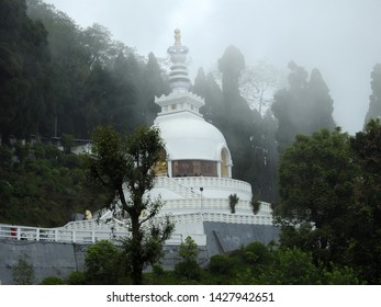 Darjeeling, West Bengal State, India - 14th May 2019 : Peace Pagoda