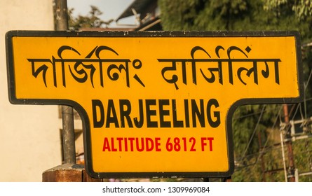 Darjeeling, West Bengal/India - 11 10 2018: The sign of Darjeeling railway station. The station lies on UNESCO World Heritage Site Darjeeling Himalayan Railway.