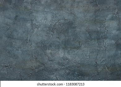 Dark abstract grunge art decorative texture design gray blue stucco concrete table background