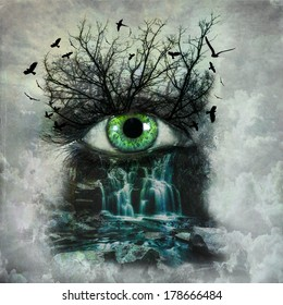Dark abstract nature painted on female face. Mother nature crying concept