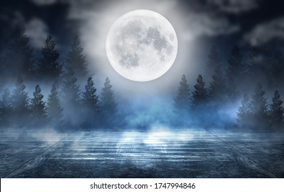Dark abstract winter forest background. Wooden floor, snow, fog. Dark night background in the forest with moonlight. Night view, magic