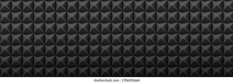 Dark acoustic foam panel background, recording studio banner, sound proofing texture